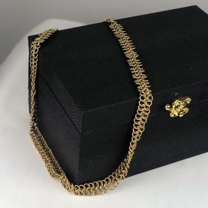 VTG Double Spiral Mesh Gold Tone Chain Necklace